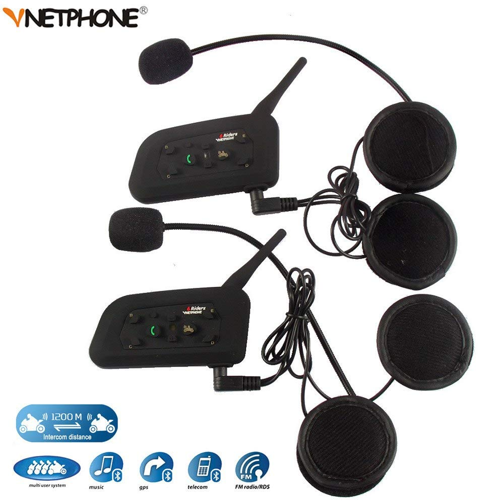 AmiciAuto 2 Pcs Vnetphone V6 Bluetooth Helmet Intercom for 6 Riders (Double Unit):